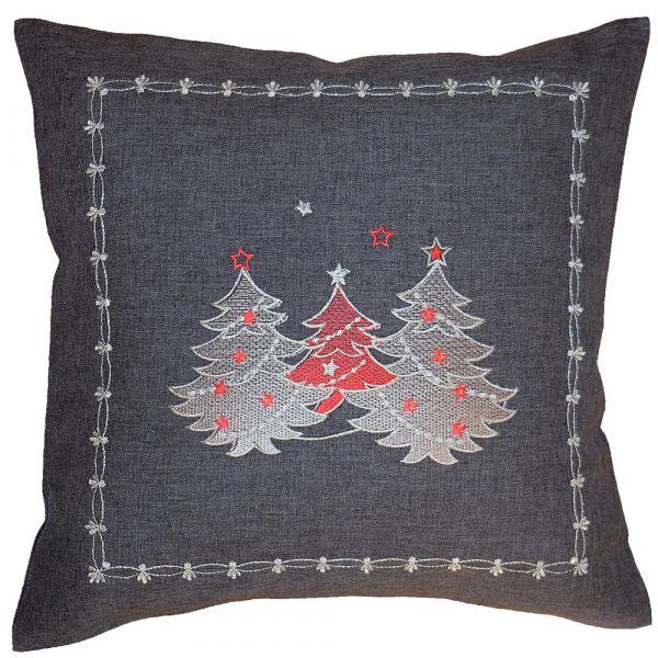 Kissenbezug Kissenhülle Weihnachten Stick Tannenbäume rot silber 40x40 cm grau