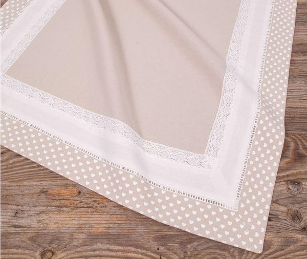 Mitteldecke Tischdecke Landhaus Premium TRAUDL Herzen beige weiß 70x70 cm