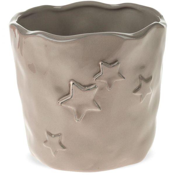Pflanztöpfe Keramik Blumentöpfe welliger Rand Sterne Relief 1 Stk beige 2 Größen