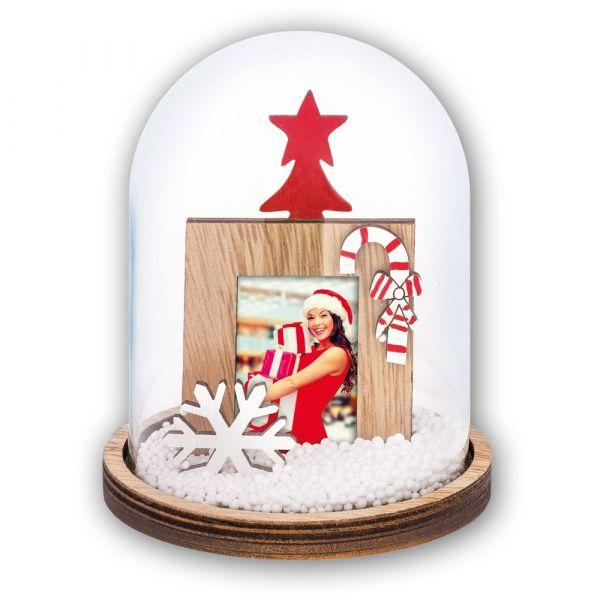 Foto Schneekugel Bilderrahmen Weihnachten SCHNEEFLOCKE & ZUCKERSTANGE Ø 13,5 cm
