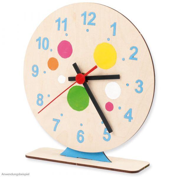 Uhr Holz Steckbausatz mit Uhrwerk & Zeigerset Bastelset für Kinder ab 6 Jahren