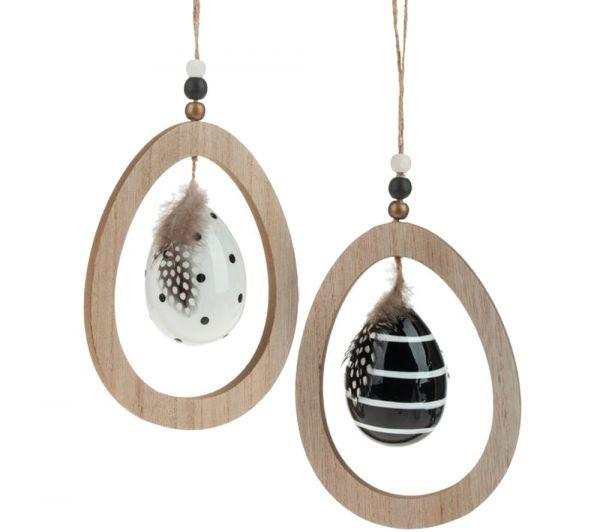 Ostereier für Osterstrauß Hängedeko schwarz weiß mit Federn 2er Set sort 11x15 cm