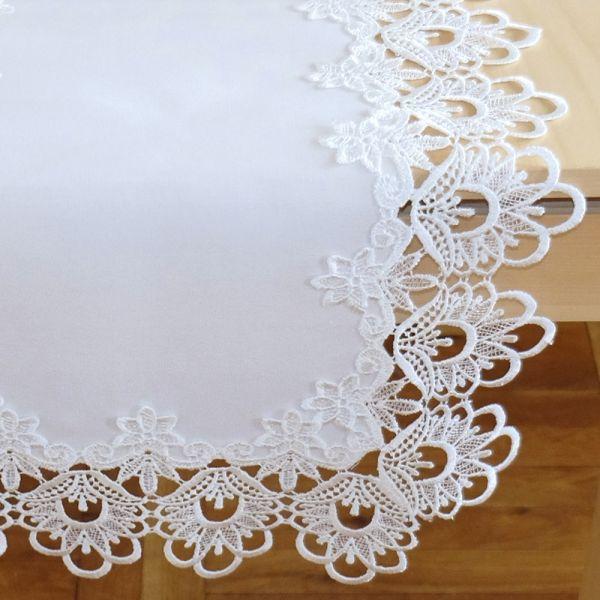 Tischdecke Tischtuch Stickerei Spitze wollweiß Tischwäsche 145x260 cm 1 Stk