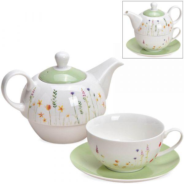 Tea For One Geschenk Box - Porzellan zarte Blumen – Teekanne, Tasse & Teller