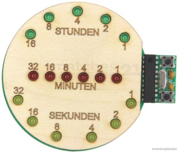 Binäre Uhr mit LEDs & USB-Anschluss Lötbausatz & Holz Bausatz Bastelset