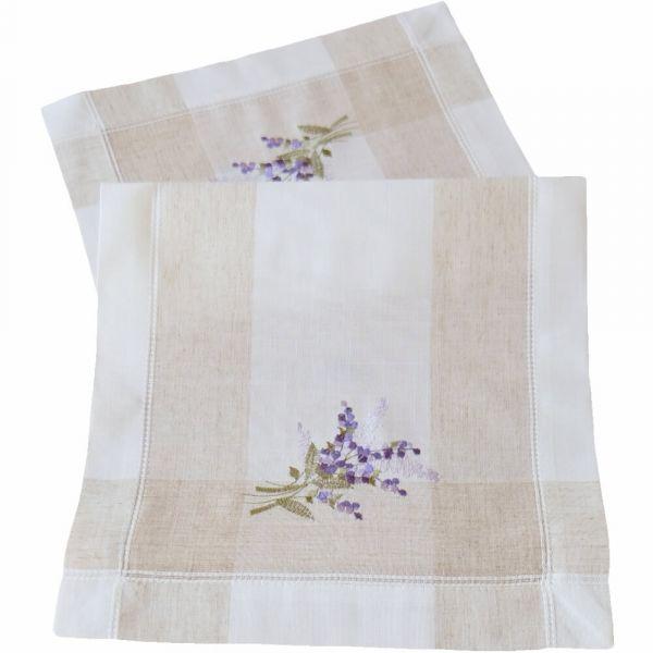 Tischläufer Tischwäsche Lavendel mediterran Leinenoptik beige / lila 35x70 cm