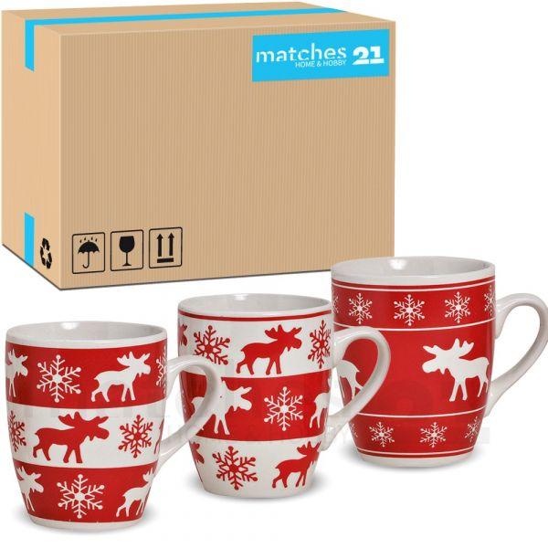 Tassen Becher 36 Stk. Kaffeetassen Elchdekor rot / weiß Keramik 10 cm / 300 ml