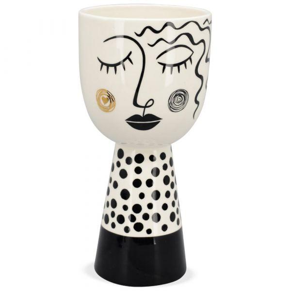 Vase Figur Keramik schlafend lange Haare weiß schwarz gepunkteter Fuß Dekovase
