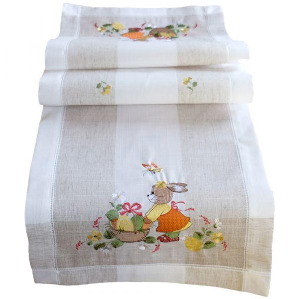 Tischläufer Mitteldecke Ostern Hasenmädchen Frühling Leinenoptik Stick 35x50 cm