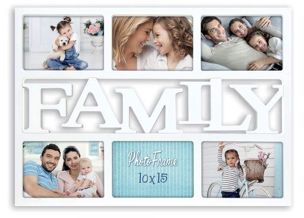 Collage 6 Fotos Galerierahmen Fotogalerie Rahmen Kunststoff weiß Schriftzug Family