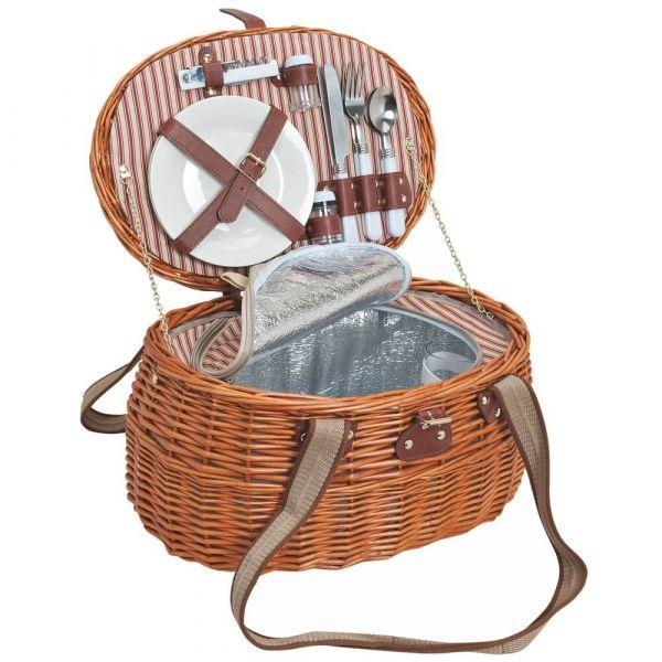 Picknickkorb 2 Personen Weidenkorb beige 15-tlg inkl Geschirr & Kühltasche