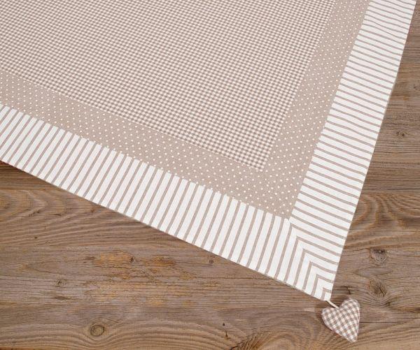 Mitteldecke Tischdecke Landhaus Premium LINA Stoffmix Herzen 100x100 cm beige