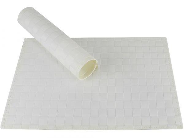 Tischset Platzset MODERN weiß geflochten Kunststoff 1 Stk. B-WARE 45x30 cm