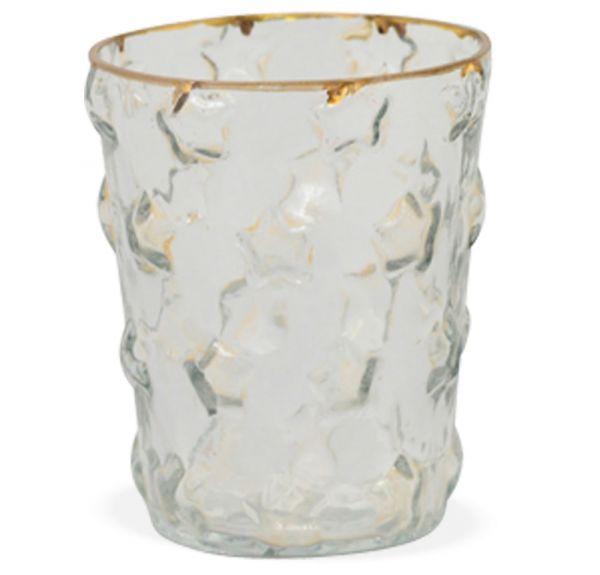 Vase Glas Goldrand Raffinierter Schliff Blumenvase Pflanztopf 60er 1 Stk 8,5 cm