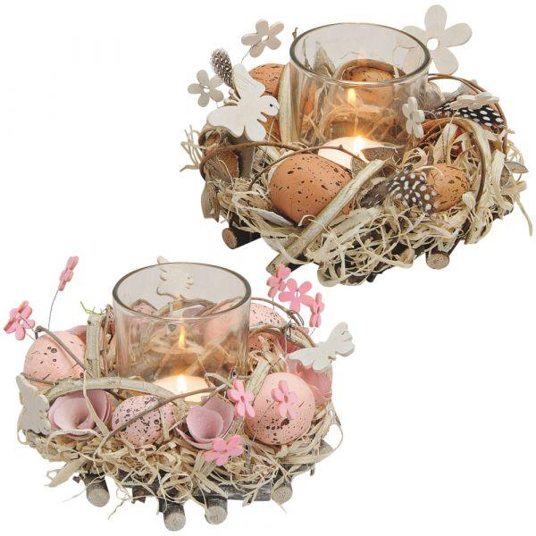 Windlichter Osternester Teelichtgläser Osterdeko Frühlingsdeko bunt 2er Set 15 cm