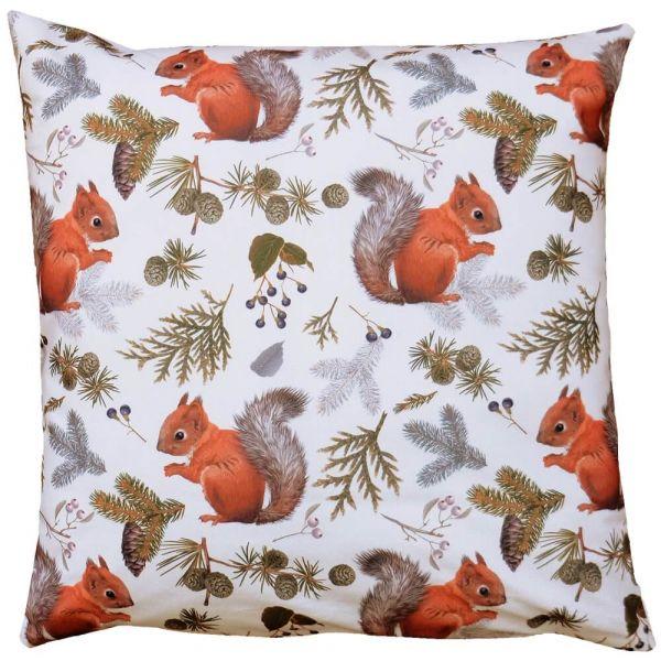 Kissenhülle Kissen Heimtextilien Herbst Eichhörnchen weiß Druck bunt 40x40 cm