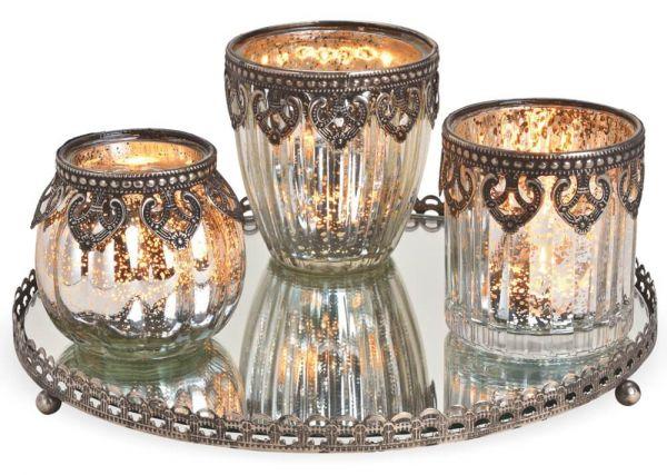 Windlichter 3er Set auf Glastablett Orient Design silber 4-tlg Glas & Metallrand