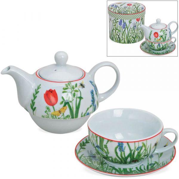Tea For One Geschenk Box - Porzellan bunte Blumen – Teekanne, Tasse & Teller