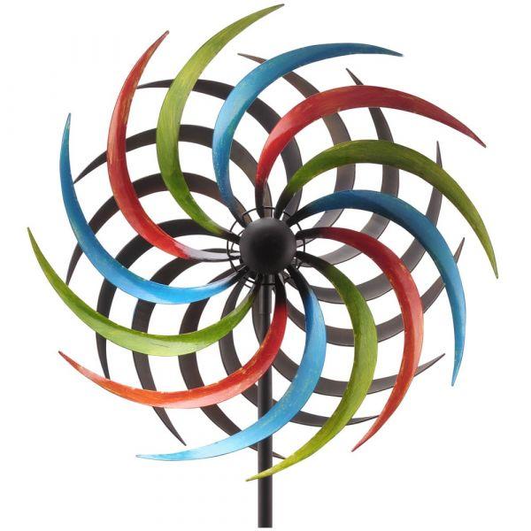 Windrad Gartendeko Metall Stab geschraubt bunt gegenläufig 1 Stk. Ø35x180 cm
