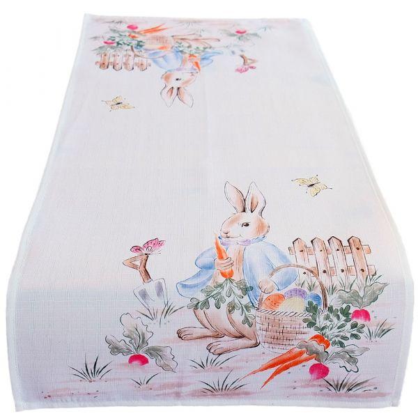 Tischläufer Mitteldecke Osterhase Junge Ostern Frühling weiß Druck bunt 40x90 cm