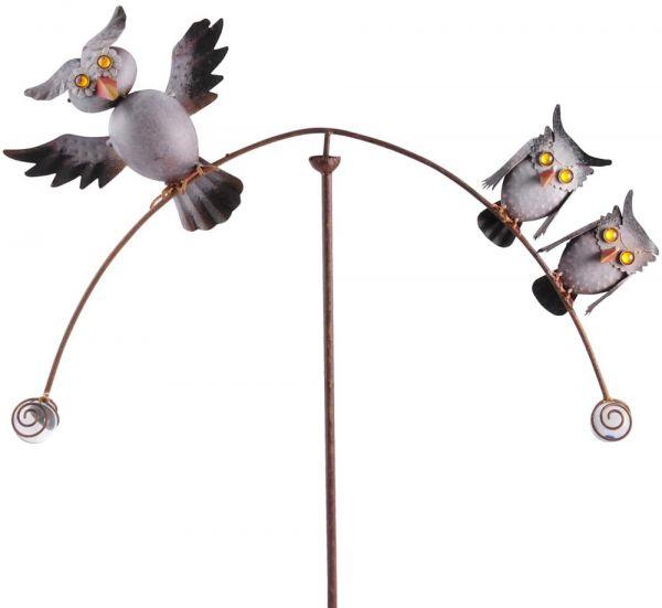 Windspiel Windspinner Gartendeko mit 3 Eulen Figuren Vögel Metall Erdspieß 138 cm