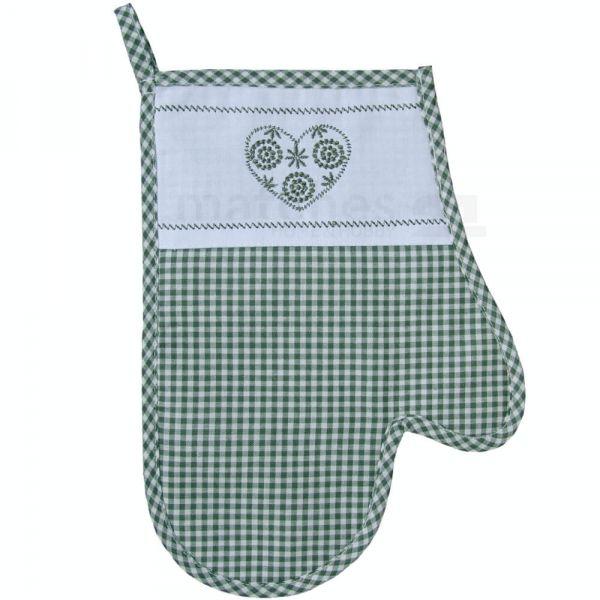 Topfhandschuh Landhaus Karo grün weiß & Herz Ofenhandschuh Handschuh 18x28 cm 1 Stk