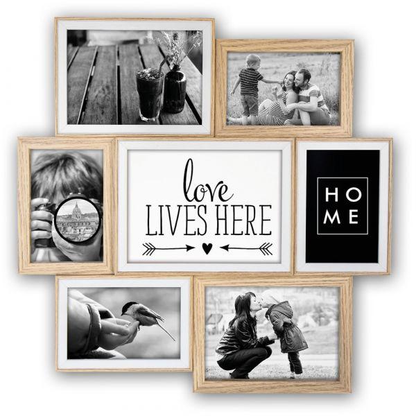 Collage 7 Fotos Galerierahmen Holz Erle natur mit unterschiedlichen Leistenbreiten