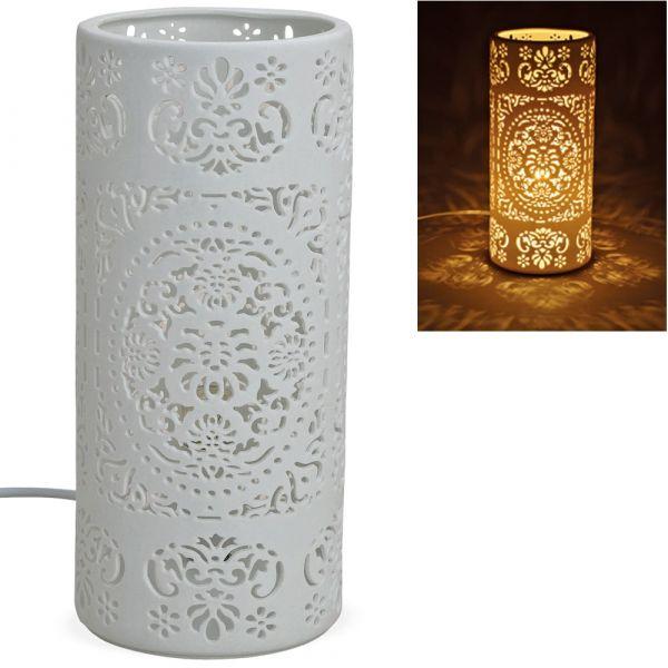 Tischlampe Nachttischlampe Leuchte Ornamente 230 V Keramik weiß 1 Stk Ø 12x28 cm