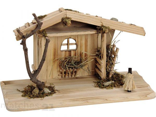 Große Krippe Holz Weihnachtskrippe Stall natur / braun 41x19x22 cm