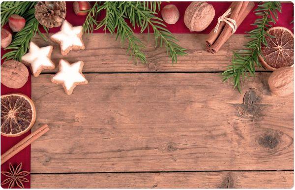 Tischset Platzset Weihnachten Gewürze & Holzoptik 1 Stk. abwaschbar 43,5 cm