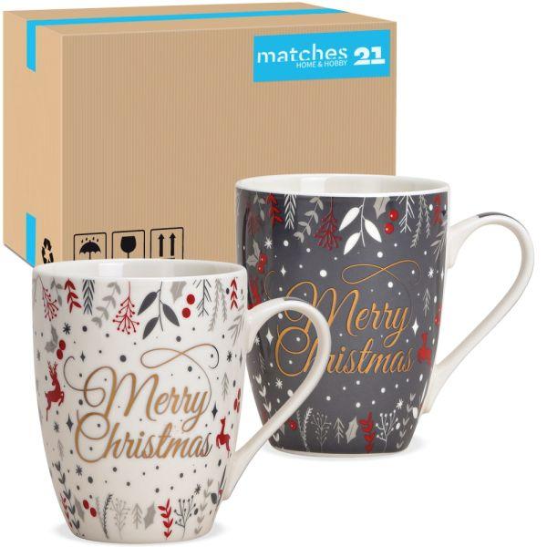 Tassen Kaffeebecher Merry Christmas grau weiß Porzellan 48 Stk sort 340 ml 10 cm
