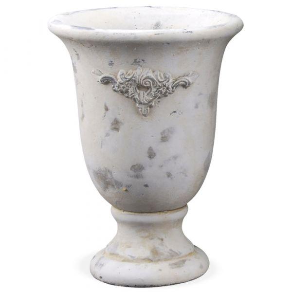 Blumentopf Sockel Kelchform Zement Antik-Look creme Vintage 1 Stk - Ø 16,5