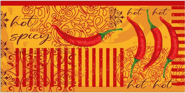 Teppichläufer Küchenläufer Teppich Chili Peperoni rot orange waschbar - 60x120 cm
