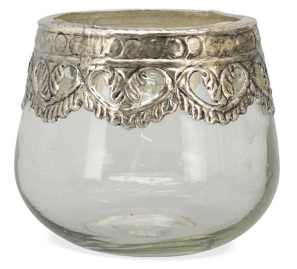 Windlicht Teelichtglas Teelichthalter rund Glas & Metall silber 1 Stk 11x9,5 cm