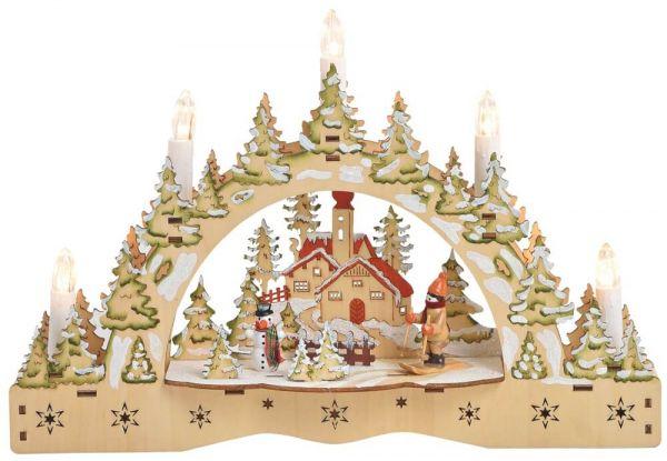 Schwibbogen 3D Lichterbogen Dorf & Skifahrer LED Kerzen Weihnachtsdeko 35x23 cm