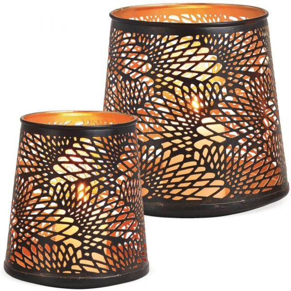 Windlichter Kerzenhalter konische Form mit Lochmuster – schwarz gold - 2er Set