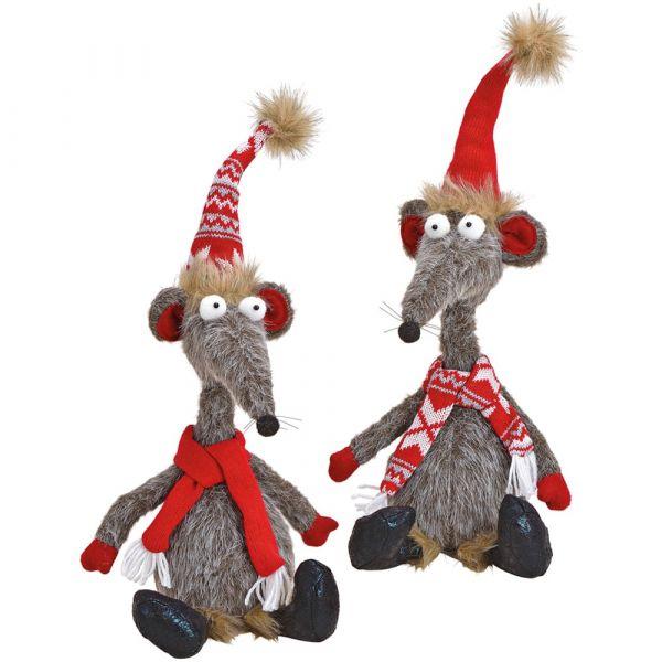 Maus Weihnachten Kantenhocker Deko Figur Schal rot ODER gemustert 1 Stk 48 cm