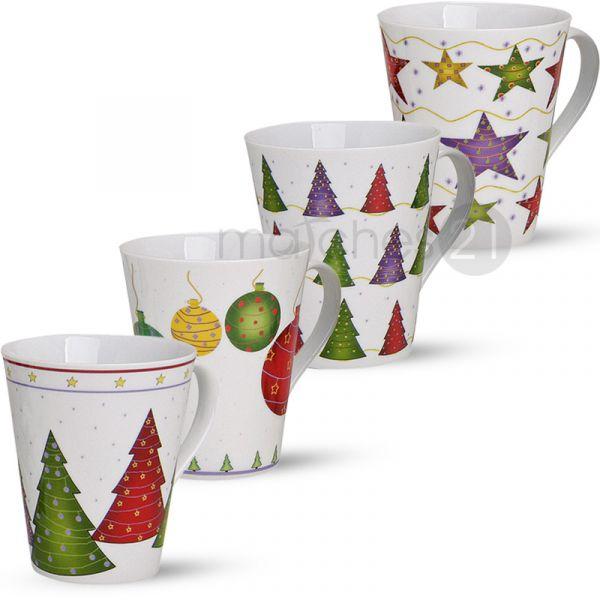 Weihnachtstassen Tassen Becher 1 Stk. B-WARE 11 cm / 350 ml Porzellan 1 Stk.