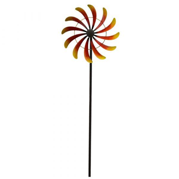 Windrad Metall Gartendeko Stab geschraubt gelb orange 1 Stk 39x168 cm