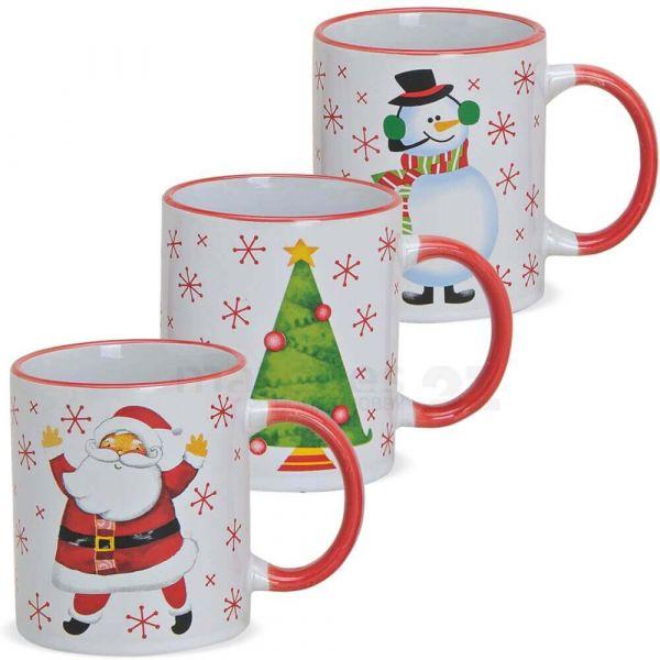Tasse Weihnachtstasse Keramik Nikolaus / Schneemann / Baum 1 Stk ** B-Ware **