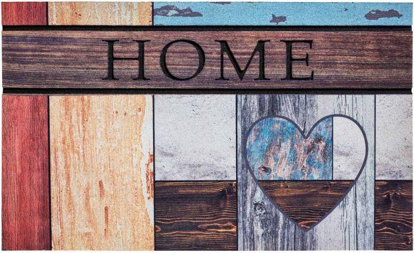Fußmatte Gummimatte wetterfest OUTDOOR DECOR Home buntes Holz & Herz 45x75 cm