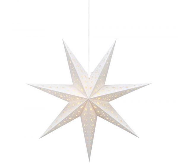 Weihnachtsstern Papier Dekoleuchte Leuchtstern hängend weiß Ø 75 cm