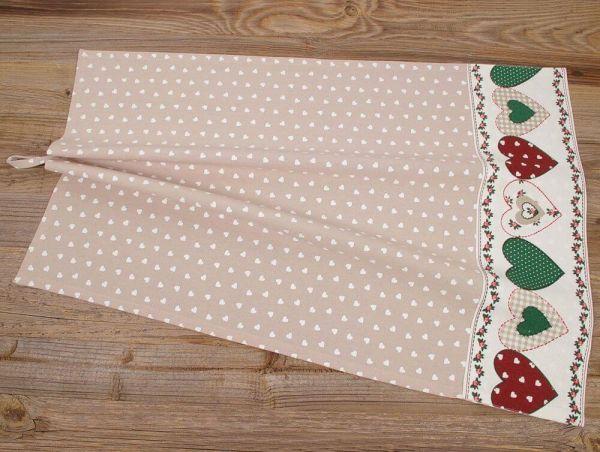 Geschirrtuch Landhaus Premium VRONI Textil beige Herz Bordüre 50x70 cm