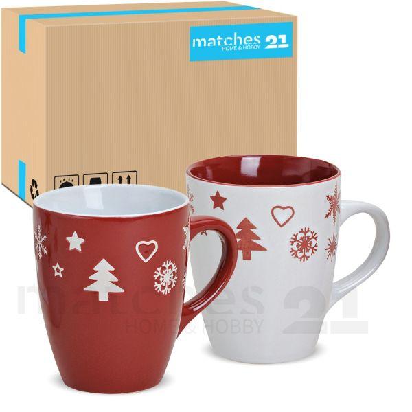 Tassen Becher Kaffeebecher 36 Stk. Karton Weihnachtsdekor rot / weiß 300 ml