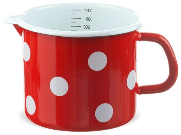 Email Milchtopf mit Skala rot gepunktet Emaille Topf / Messbecher 12 cm 1000 ml