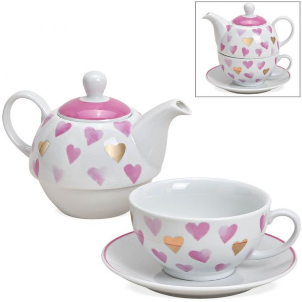 Tea For One Geschenk Set Porzellan Herz Motiv rosa gold Teekanne, Tasse & Teller