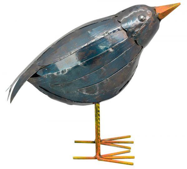 Rabe Vogel Metall Gartenfigur Figur Skulptur Outdoor blau aufrecht 1 Stk 22x17 cm