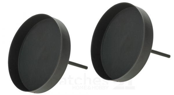 Kerzenhalter Metall für Adventskranz mit Pick & Rand schwarz 2er Set Ø 8 cm