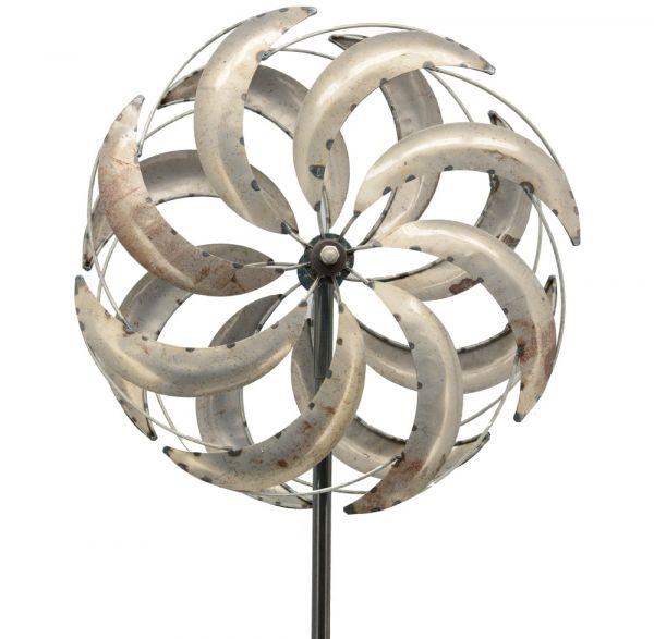 Windrad Gartendeko Metall Flügel geschraubt gegenläufig silber 1 Stk 51x19x216 cm