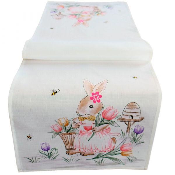 Tischläufer Mitteldecke Osterhase Mädchen Ostern Frühling weiß Druck bunt 40x140 cm